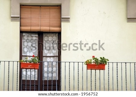 balcony with door and flowers in spain