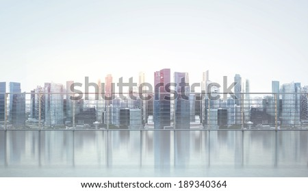 Balcony with modern city view - stock photo