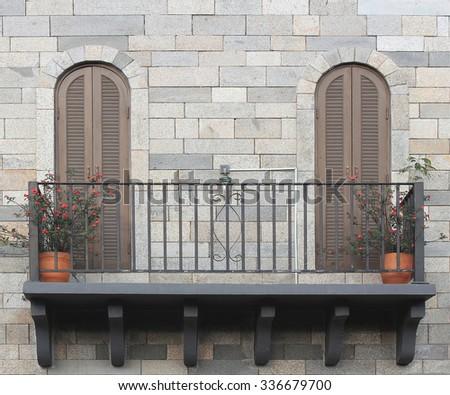 balcony with pots - stock photo