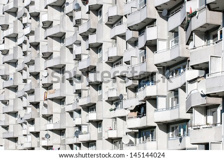 Balconys on a high rise - stock photo