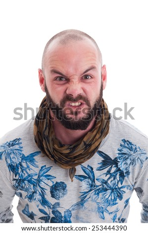Bald and bearded man making an agry face on white backgroound - stock photo