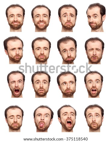 bald beard adult caucasian man collection set of face expression like happy, sad, angry, surprise, yawn isolated on white