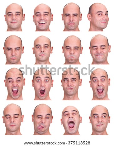 bald brunette adult caucasian man collection set of face expression like happy, sad, angry, surprise, yawn isolated on white - stock photo