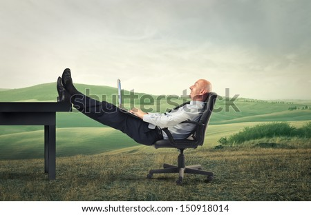 bald businessman relaxes in the countryside