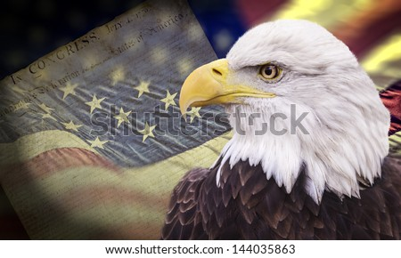 Bald eagle with grungy looking american flag out of focus and declaration of independence.