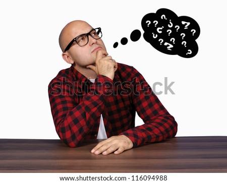 Bald guy thinking about something - stock photo