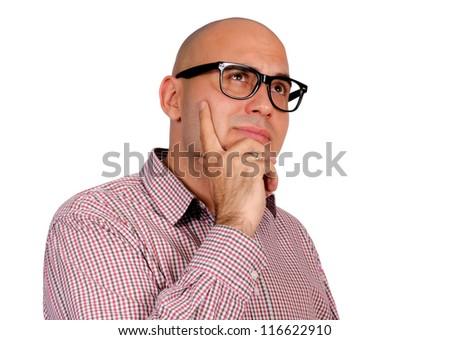 Bald guy thinking isolated on white - stock photo