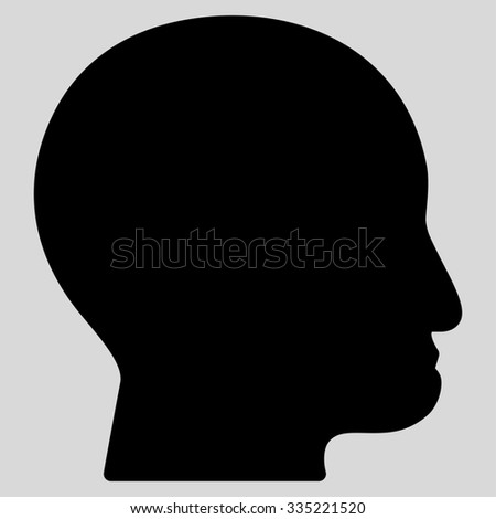 Bald Head glyph icon. Style is flat symbol, black color, rounded angles, light gray background.