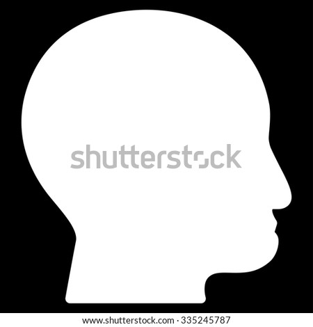 Bald Head glyph icon. Style is flat symbol, white color, rounded angles, black background.