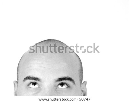 Bald head looking up Black and White - stock photo