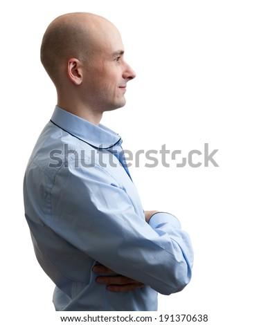 bald man profile isolated on white background - stock photo
