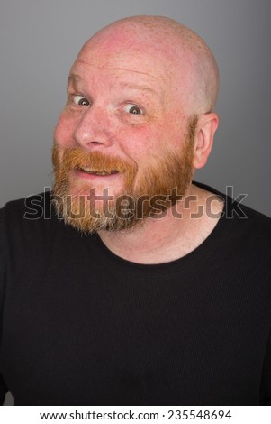Bald Man with a beard - stock photo