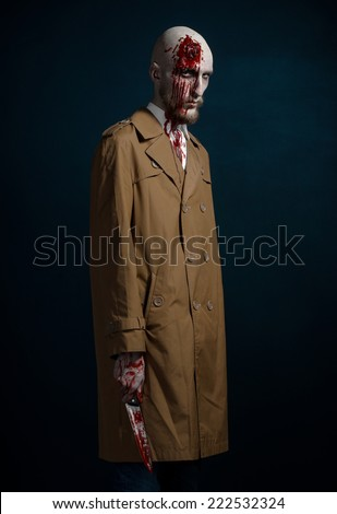 bald man with a broken head, a bloody man with a beard and mustache, a bloody man with a brown coat and a white shirt, a bloody knife, a bald man, a head injury, bloody theme, halloween theme, killer - stock photo