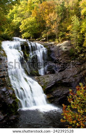 Bald RIver Waterfall at Tellico River in Cherokee National Forest just outside Great Smoky Mountains National Park in Tennessee - stock photo