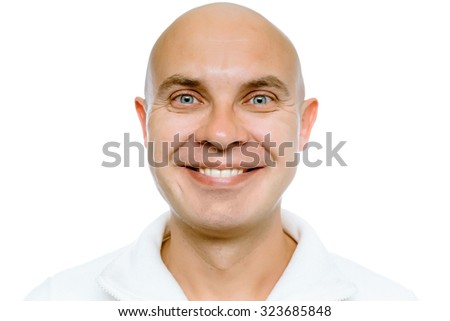 Bald smiling man. Isolated on white. Studio - stock photo