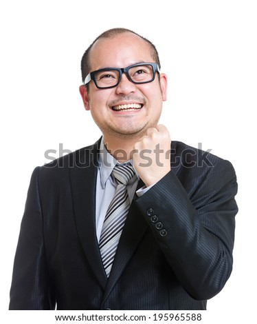 Balding cheerful mature businessman - stock photo