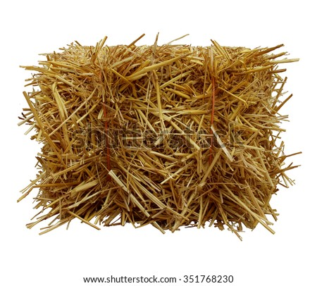 Bale of hay front view isolated on a white background as an agriculture farm and farming symbol of harvest time with dried grass straw as a bundled tied haystack.   - stock photo