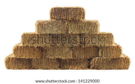 Bale of hay group in a pyramid wall pattern isolated on a white background as a country  design element and agriculture farm and farming icon of harvest time with straw as bundled tied haystacks. - stock photo