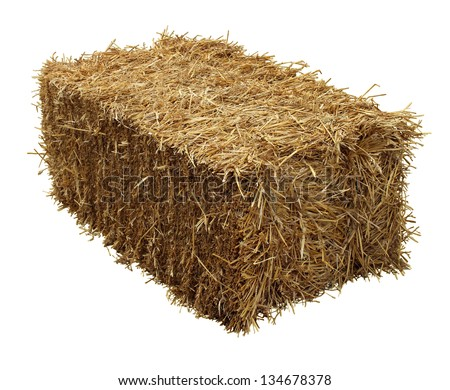 Bale of hay isolated on a white background as an agriculture farm and farming symbol of harvest time with dried grass straw as a bundled tied haystack. - stock photo