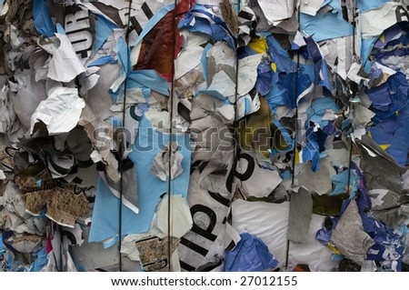 Bale of poster paper for recycling - stock photo