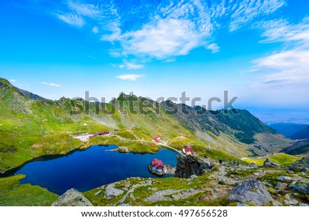 Balea lake at fagaras mountain