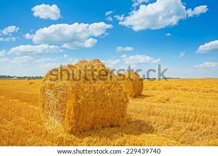 bales of straw on harvested field and beauti cloudy sky - stock photo