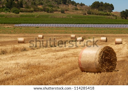 Bales on field and solar panels farm in background - stock photo