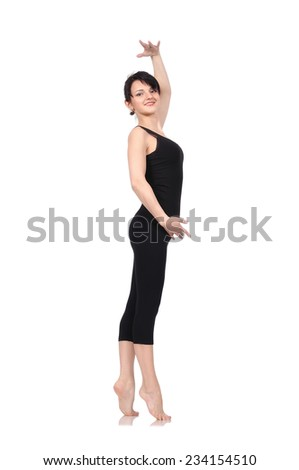 balet dancer isolated on a white background - stock photo