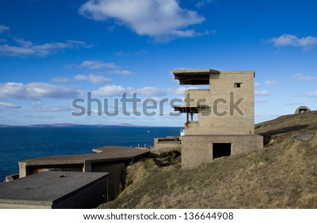 Balfour Battery at Hoxa Head, Orkney, Scotland. Naval defences originally built in World War 1 and later upgraded for World War 2 to protect the British Fleet in Scapa Flow. - stock photo