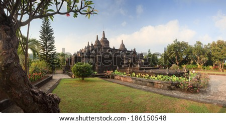 Bali budhist temple Brahma Vihara-Arama Banjar panorama close to Lovina, Indonesia, small version of Borobudur temple on Java