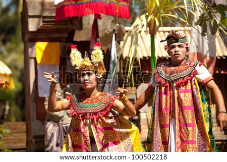 BALI, INDONESIA - APRIL 9: Balinese actors during a classic national Balinese dance Barong on April 9, 2012 on Bali, Indonesia. Barong is very popular cultural show on Bali. - stock photo