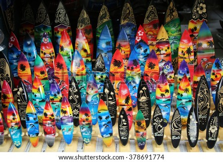 BALI, INDONESIA - FEBRUARY 6, 2016: Local souvenirs on display in Bali.