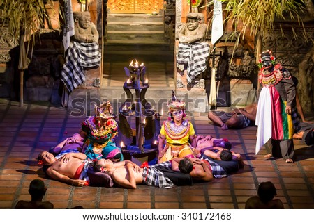 BALI, INDONESIA - JUNE 1 2014: Traditional Balinese Kecak dance  on June 1, 2014, Bali, Indonesia - stock photo