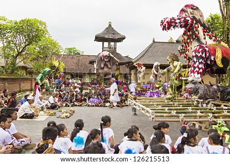 BALI, INDONESIA - MARCH 04: Balinese statue Ogoh-Ogoh ready for Ngrupuk parad on March 04, 2011 in Ubud; Bali. Statues Ogoh-Ogoh made for vanquish the negative spirits during the Balinese New Year