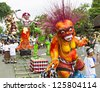 BALI, INDONESIA - MARCH 04: Balinese statue Ogoh-Ogoh ready for Ngrupuk parade on March 04, 2011 in Ubud; Bali. Statues Ogoh-Ogoh made for vanquish the negative spirits during the Balinese New Year - stock photo