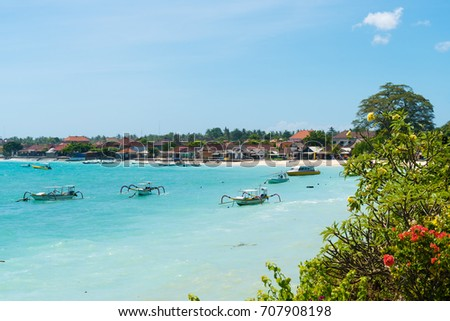 Bali, Indonesia - May 11, 2017: Lembongan tropical island is a main popular balinese attractions, famous for the clear, aqua blue water and activities like diving and snorkeling in Bali, Indonesia.
