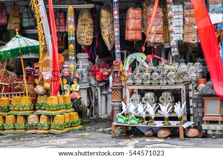 Bali.Indonesia-May 28,2016:Various & colorful handcrafts for sale in market at Bali,Indonesia.Bali has many arts & crafts markets where can buy anything from soft wood carvings to batik fabrics.