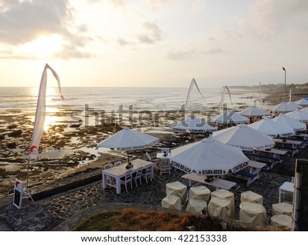 BALI, INDONESIA - OCTOBER 22, 2013: Beach side cafes of Echo beach, Canggu, Bali, Indonesia.