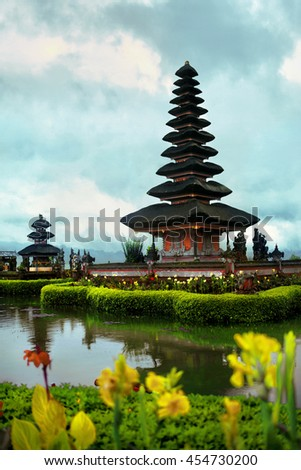 Bali, Indonesia. Scenic Landscape Of Pura Ulun Danu Bratan Temple, Pura Bratan Water Temple Complex On Lake. Balinese Landmark, Famous Tourist Attraction To Travel. Ancient Architecture Background - stock photo