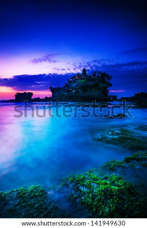 BALI Landmark Tanah Lot temple in sunset. Bali island, indonesia - stock photo