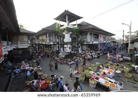 BALI-OCT 15: Commercial activities at the main Ubud market on October 15, 2010 in Bali, Indonesia. - stock photo