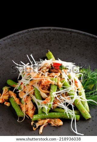 Bali style chicken with lemongrass and long beans - stock photo