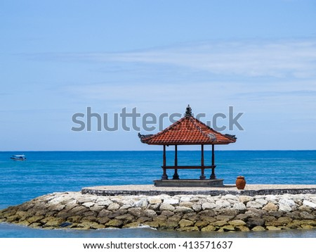 bali style pavilion beach in sunny day.