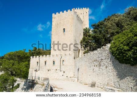 Balio castle in Erice, SIcily, Italy - stock photo