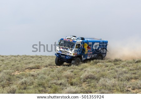 BALKHASH, KAZAKHSTAN-JULY 14, 2016: Sports truck gets over the difficult part of the route during the Silk Way rally Moscow-Beijing Dakar series on a dirt road
