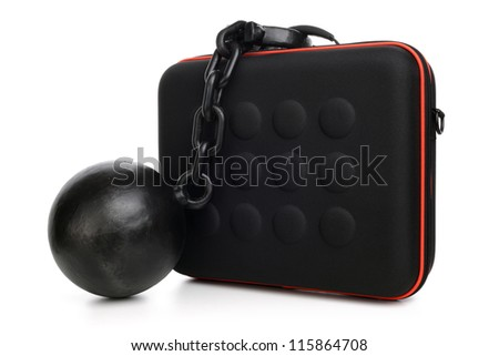 Ball and chain attached to a briefcase concept for chained to your work, overworked or security - stock photo