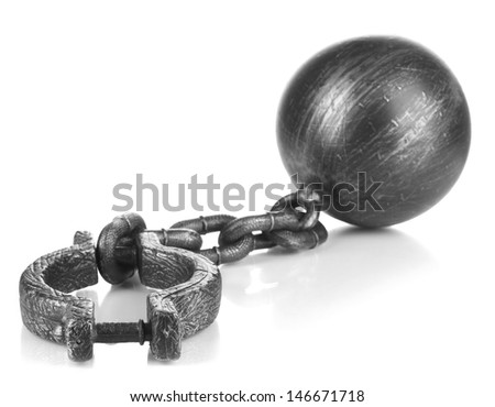 Ball and chain isolated on white - stock photo