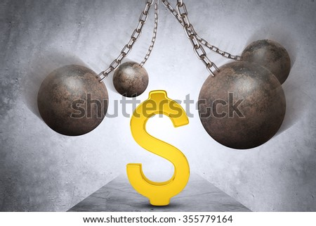Ball and chain with gold dollar sign - stock photo
