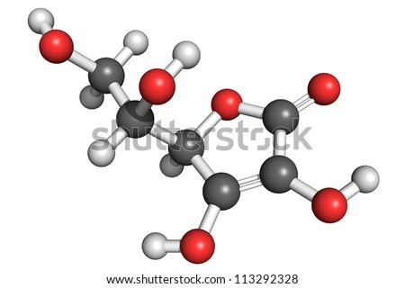 Ball and stick model of vitamin C (L-ascorbic acid). Vitamin C is an important antioxidant, immune system booster and antihistamine. Deficiency results in scurvy. - stock photo