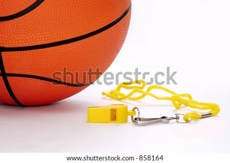Ball and whistle on a white background 3 - stock photo